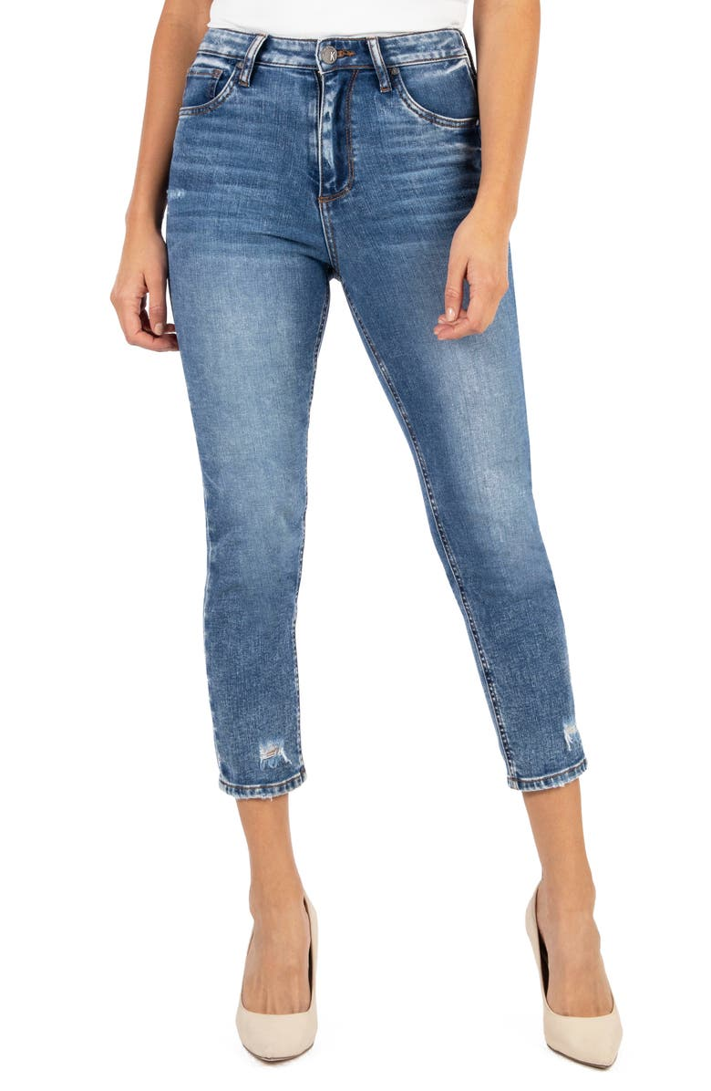 KUT FROM THE KLOTH Naomi Girlfriend High Rise Straight Leg Capri Jeans, Main, color, COLORFUL W/ MEDI