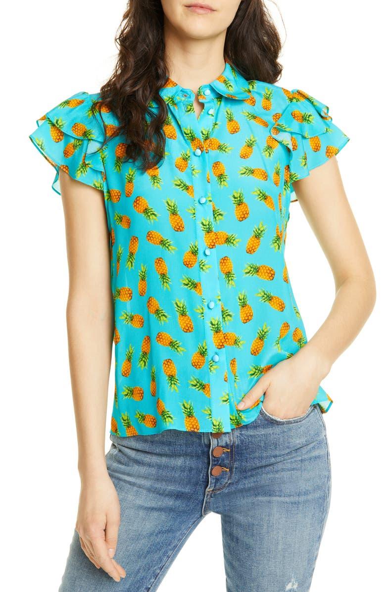 ALICE + OLIVIA Ziggy Ruffle Cap Sleeve Silk Blouse, Main, color, 440