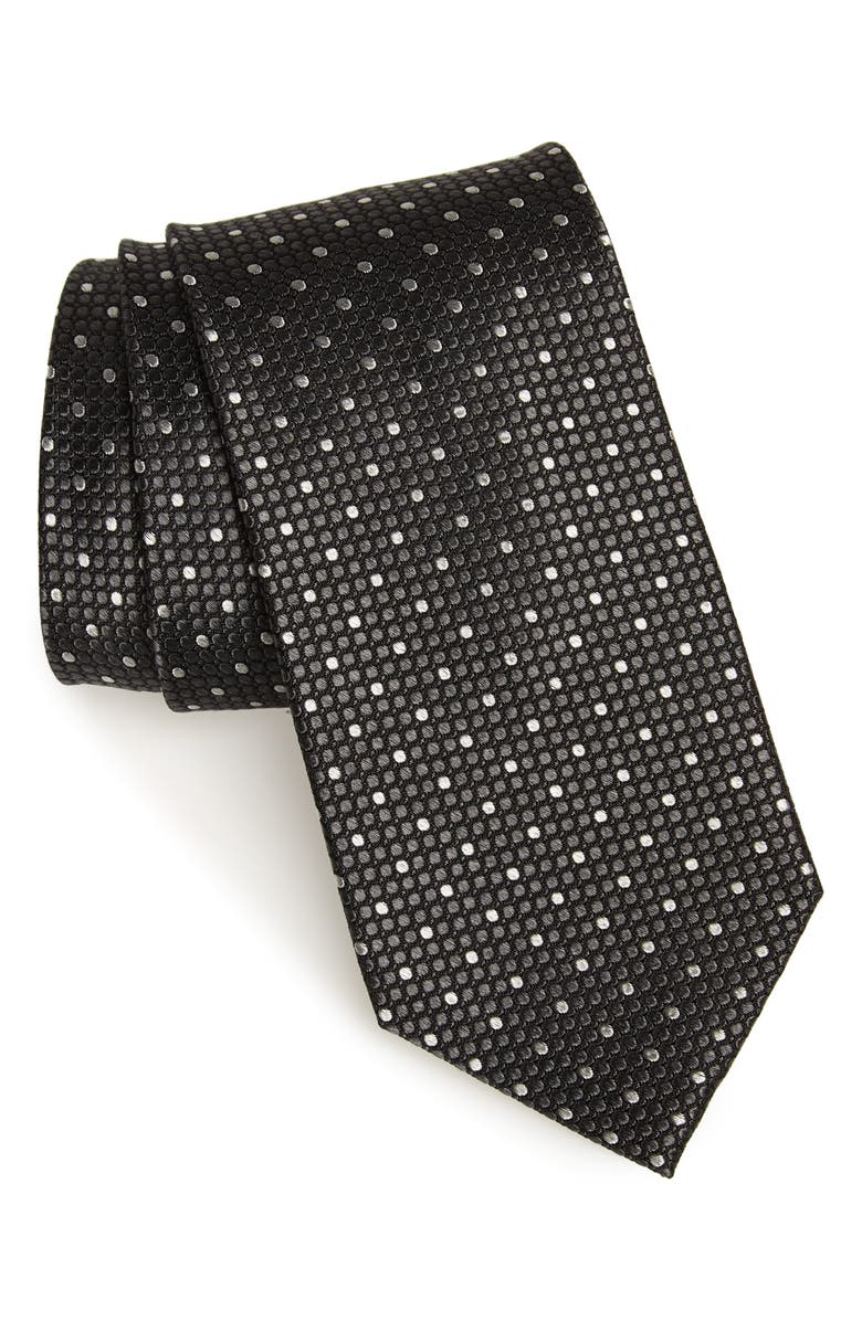 NORDSTROM MEN'S SHOP Larrea Dot Silk Tie, Main, color, 001