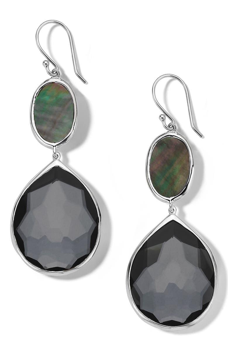 IPPOLITA Odine Oval & Teardrop Stone Earrings, Main, color, SILVER/ HEMATITE