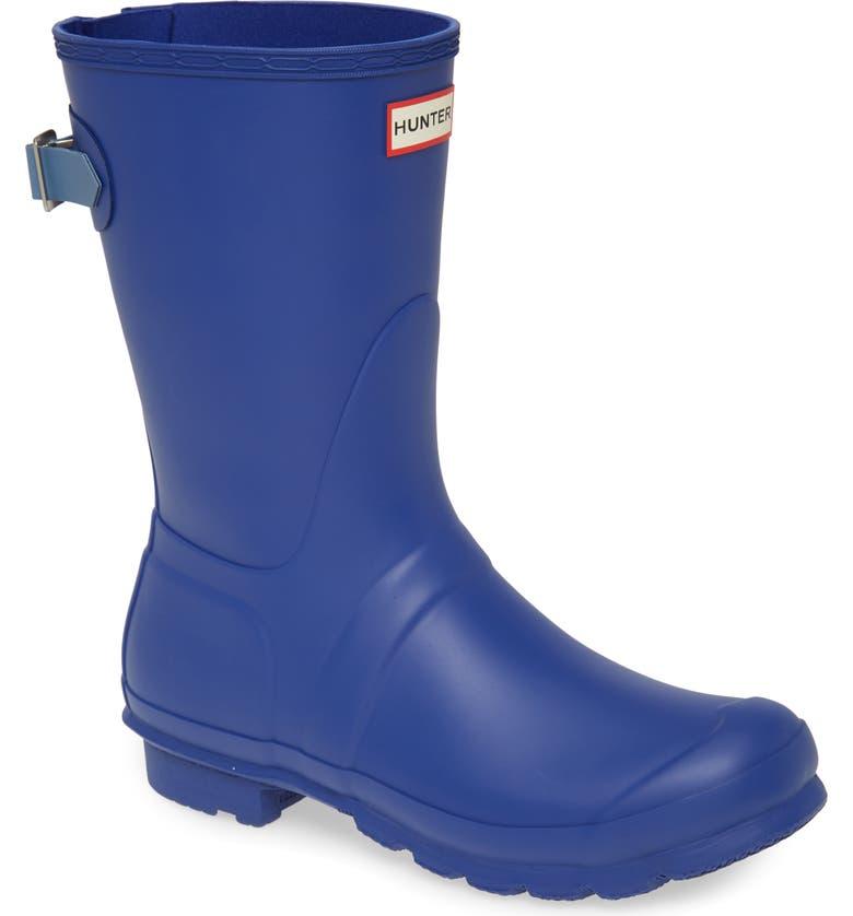 HUNTER Original Short Back Adjustable Waterproof Rain Boot, Main, color, 400