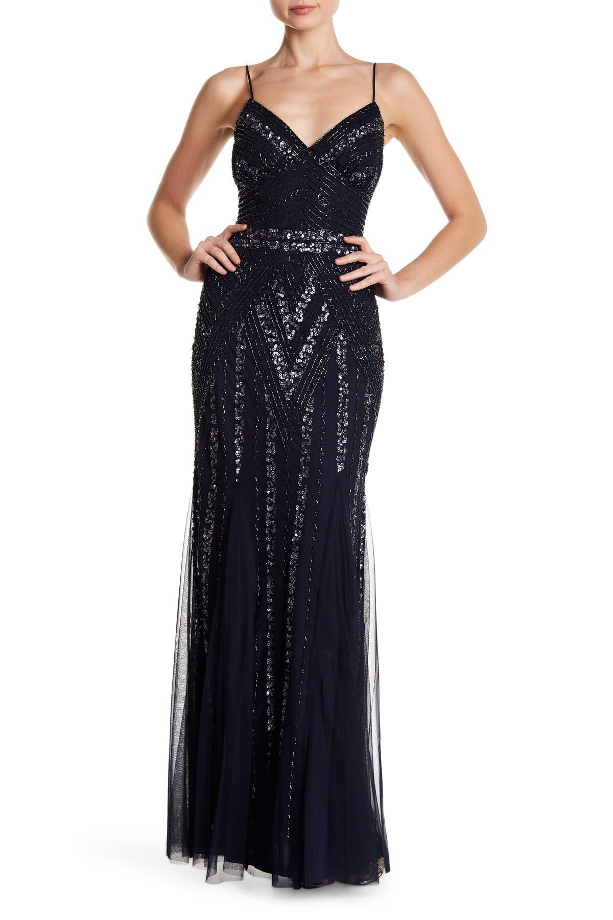 Image of Marina Embellished V-Neck Gown