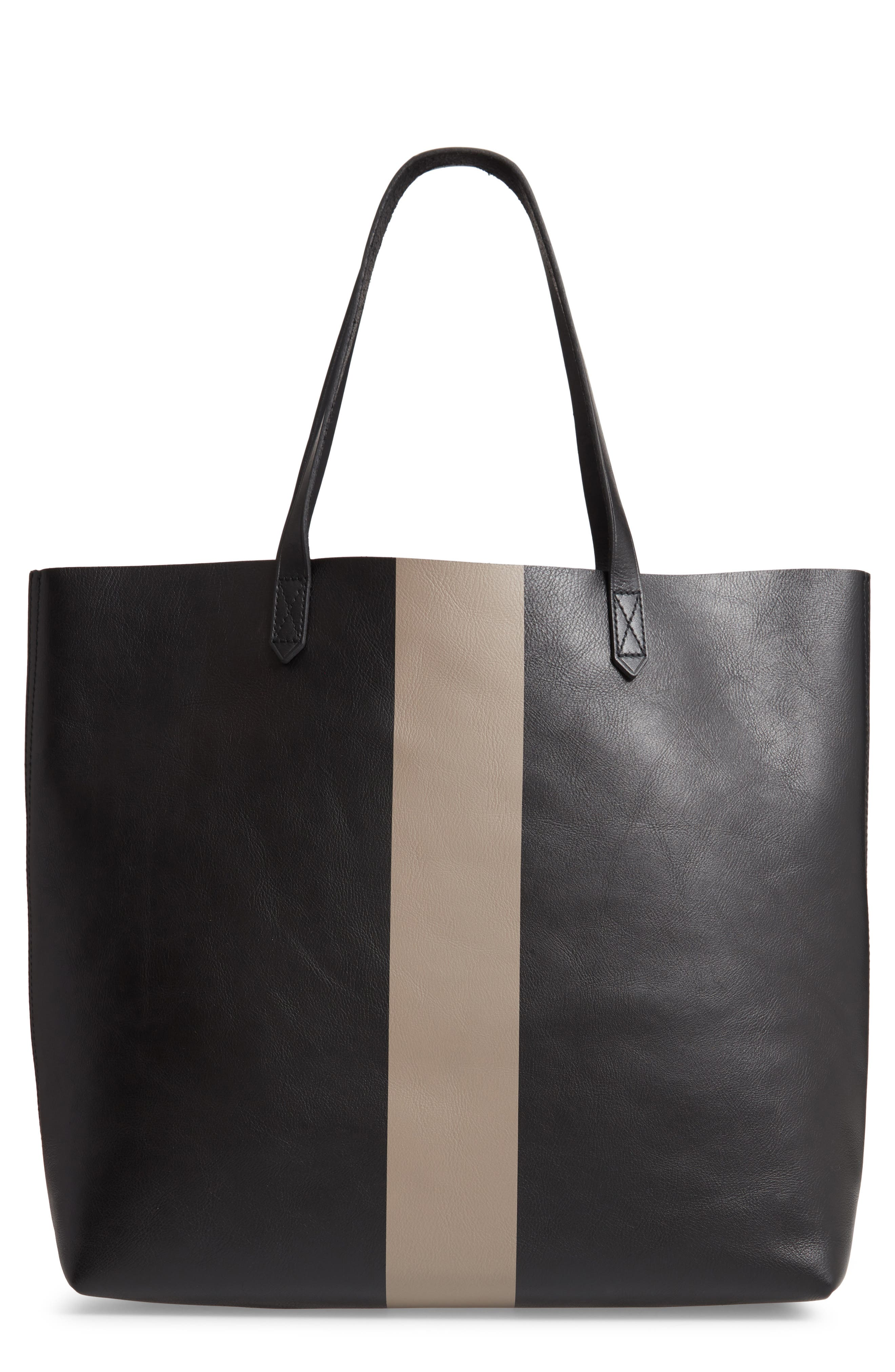 Image of Madewell Paint Stripe Transport Leather Tote
