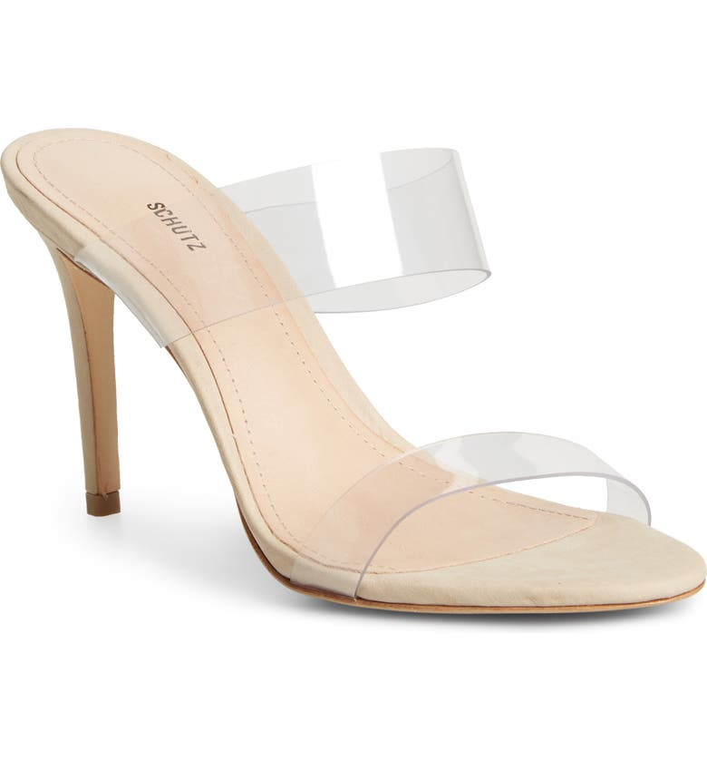 SCHUTZ Ariella Sandal, Main, color, BEIGE/TRANSPARENT VINYL FABRIC