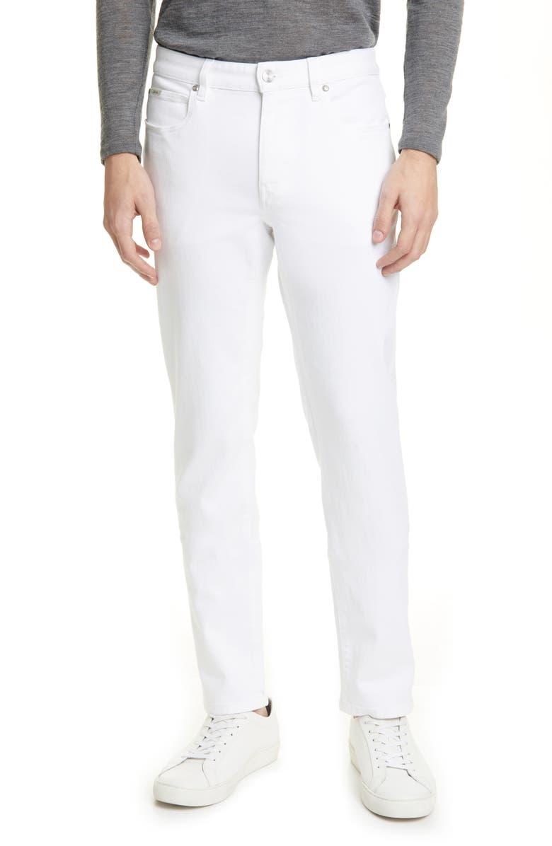 Z ZEGNA Z Zenga Slim Fit White Twill Pants, Main, color, WHITE
