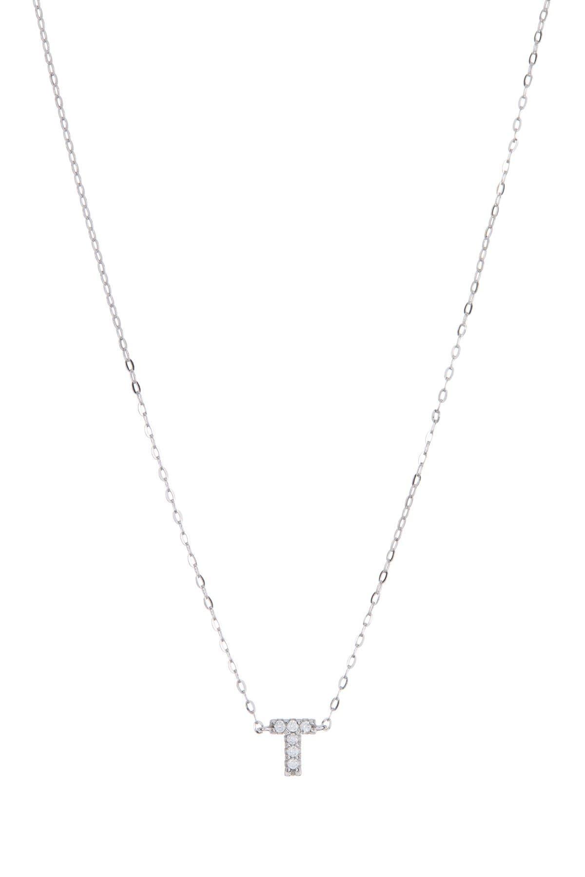"Image of NADRI Pave Rhinestone ""T"" Initial Pendant Necklace"