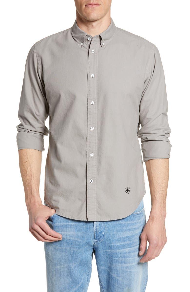 RAG & BONE Fit 2 Tomlin Slim Fit Oxford Shirt, Main, color, GREY