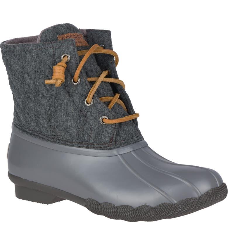 SPERRY Saltwater Waterproof Rain Boot, Main, color, GREY ROPE FABRIC