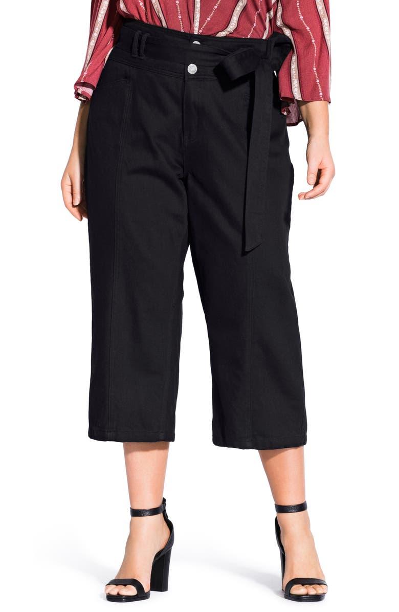 CITY CHIC Classic Tie Waist Crop Jeans, Main, color, BLACK