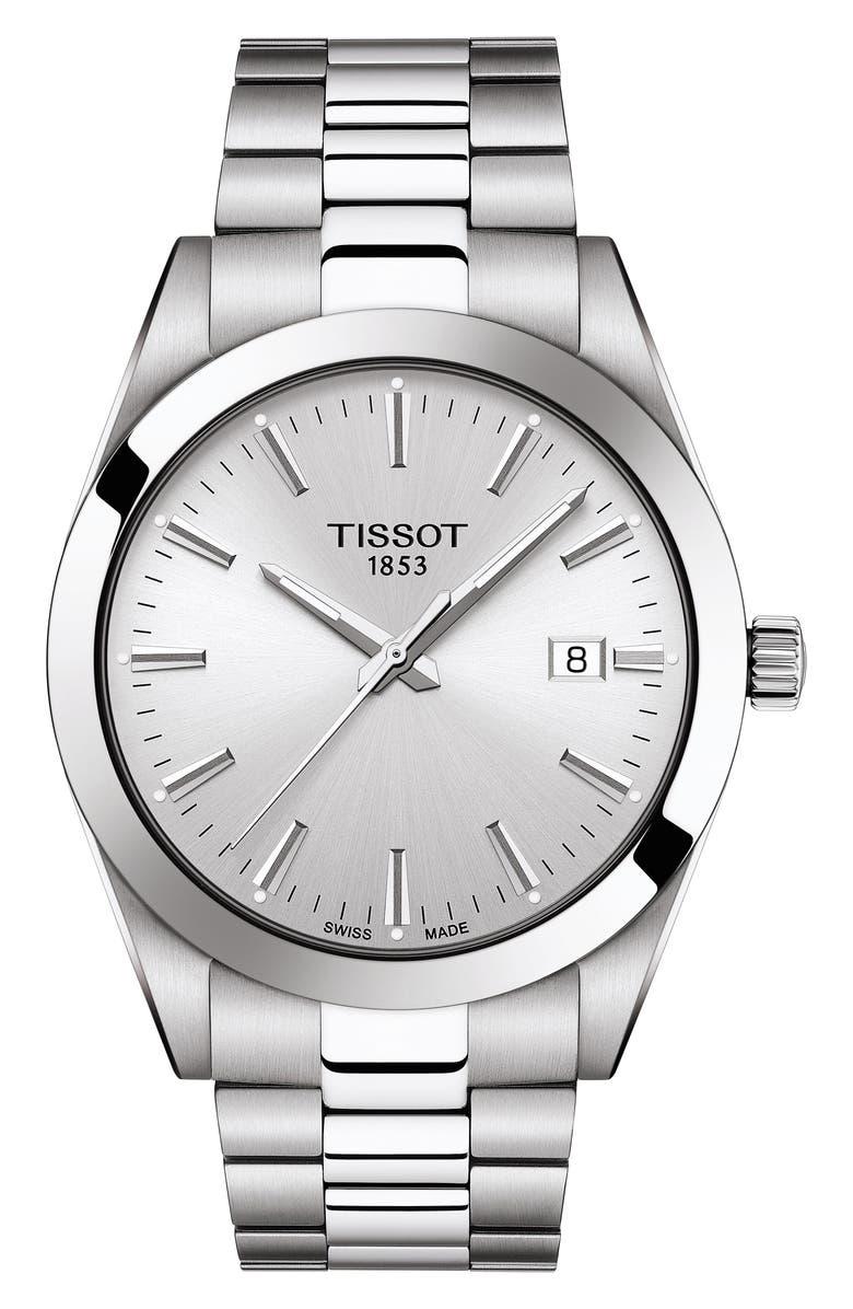 TISSOT T-Classic Gentleman Bracelet Watch, 40mm, Main, color, GREY/ SILVER