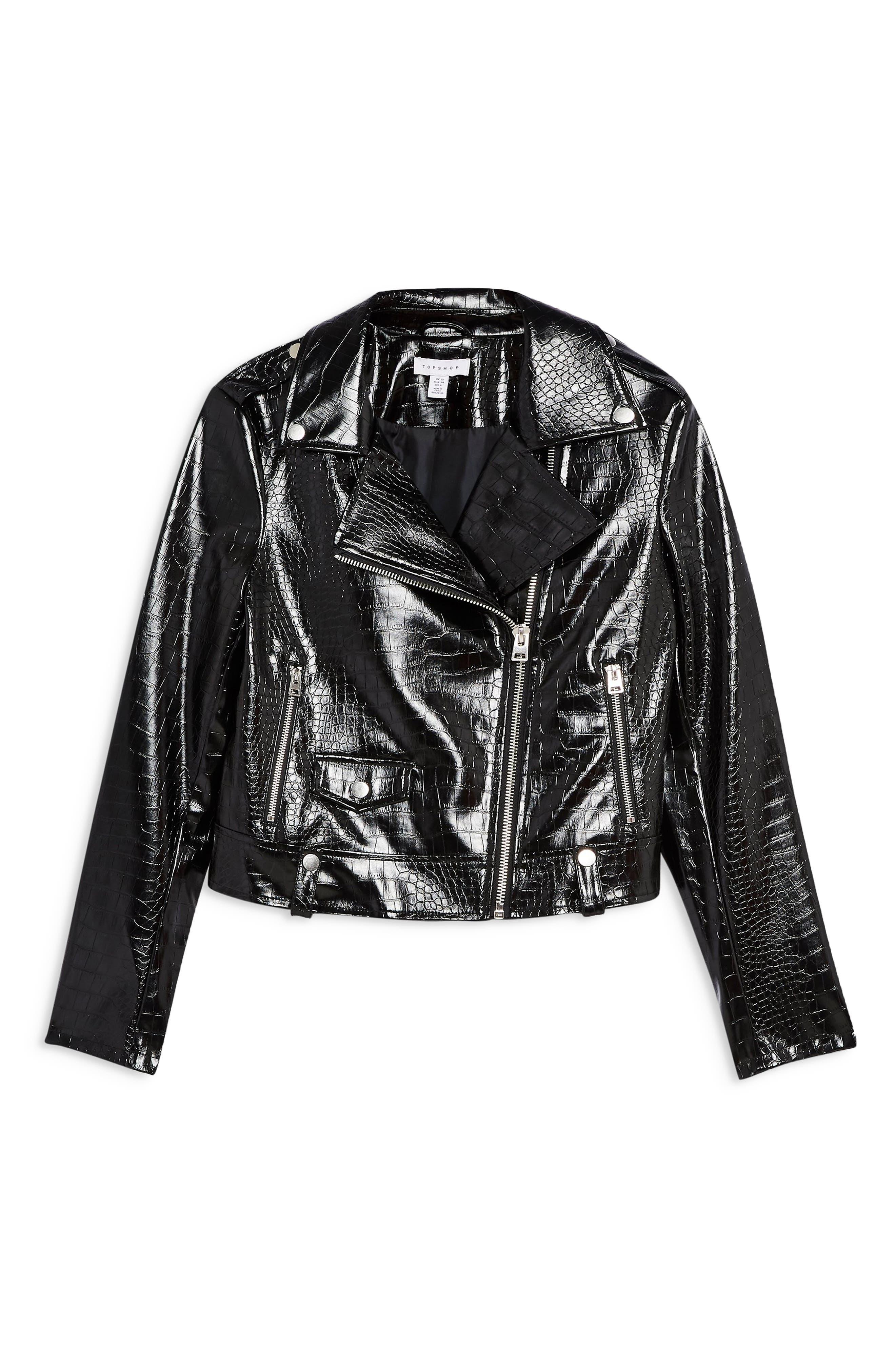 ,                             Croc Embossed Faux Leather Jacket,                             Alternate thumbnail 3, color,                             BLACK