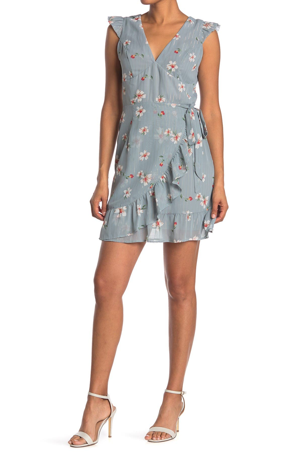 Image of Collective Concepts Floral Ruffle Wrap Dress