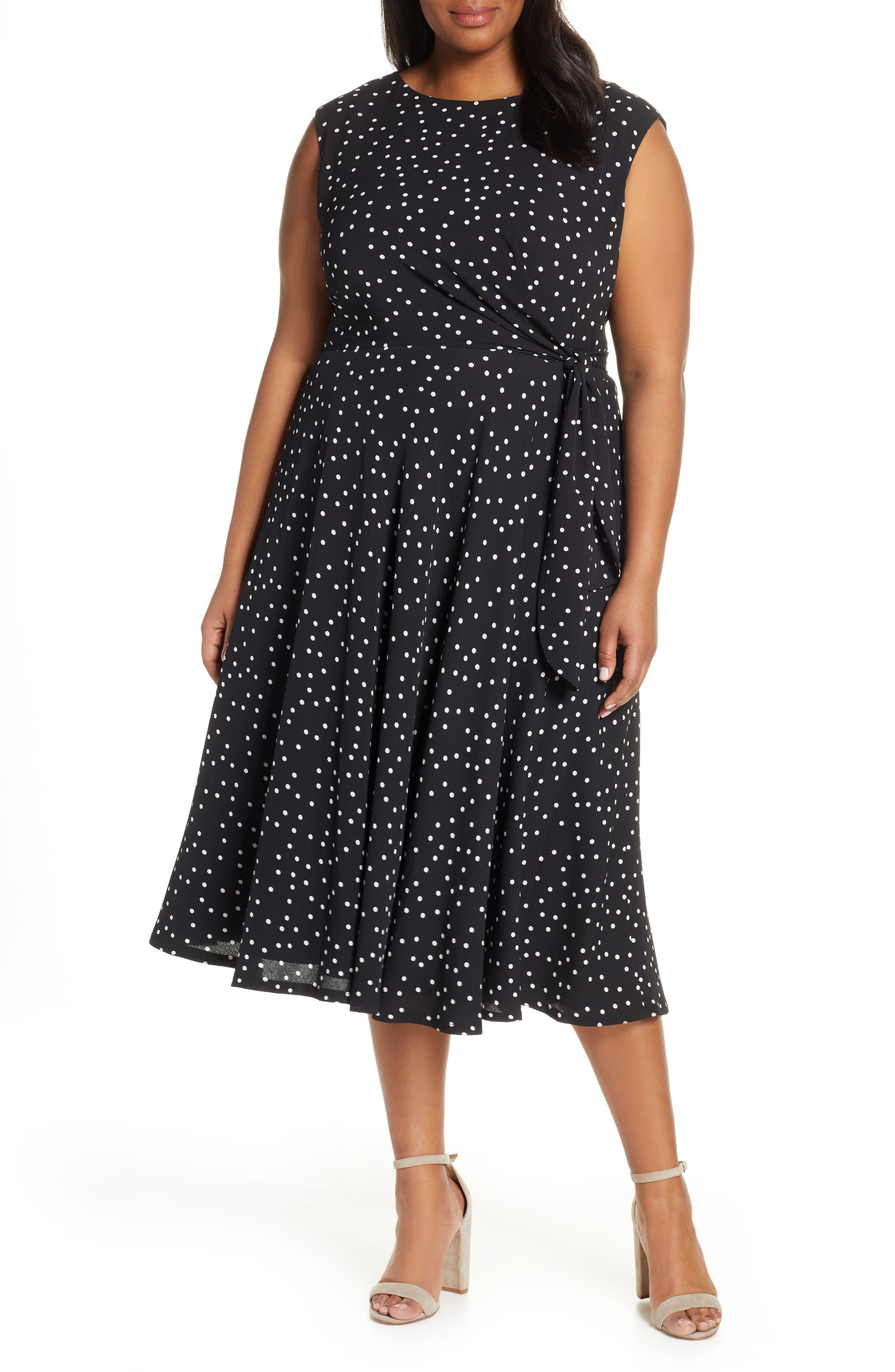 ,                             Polka Dot Fit & Flare Midi Dress,                             Main thumbnail 1, color,                             002