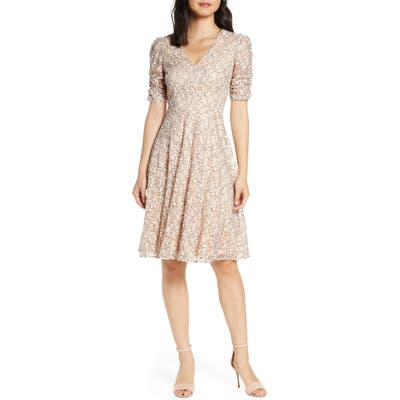 Eliza J Lace Ruched Sleeve Lace Fit & Flare Dress, Pink