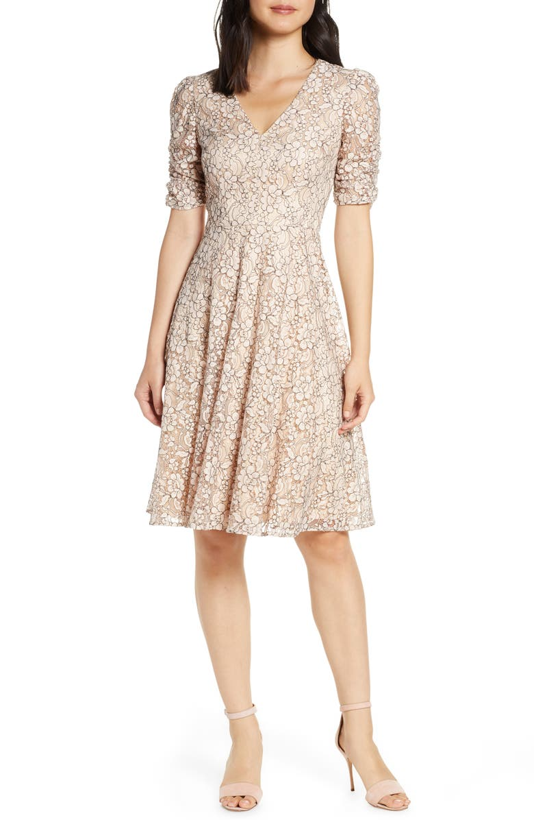 Eliza J Lace Ruched Sleeve Lace Fit Flare Dress