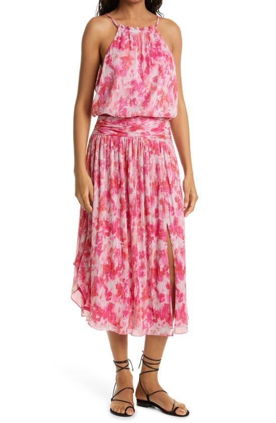 Ramy Brook Alexa Print Sleeveless Drop Waist Dress In Rose Pink Combo