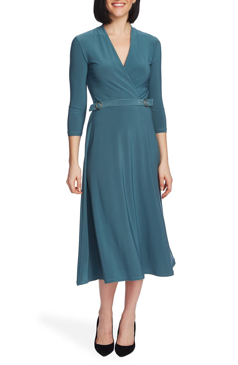 CHAUS Belted Midi Dress, Main, color, DARK JADE