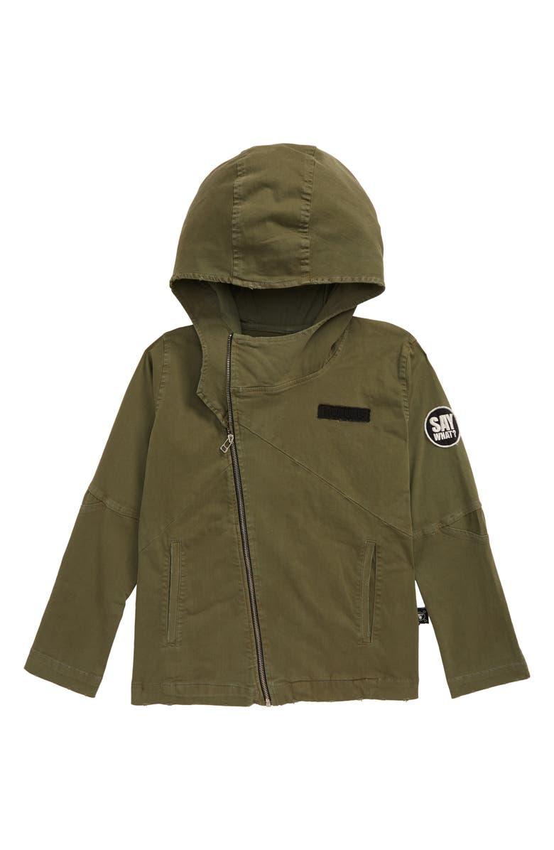 NUNUNU Hooded Biker Jacket, Main, color, DYED OLIVE