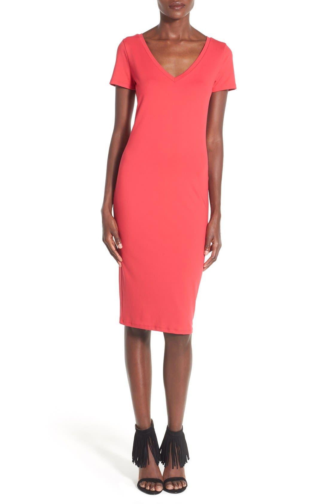 ,                             V-Neck Body-Con Dress,                             Main thumbnail 29, color,                             605