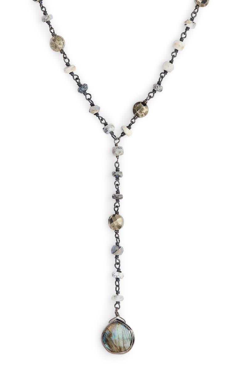 ELA RAE Yaeli Semiprecious Y-Necklace, Main, color, 040