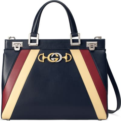 Gucci Mediumtricolor Leather Top Handle Bag - Blue