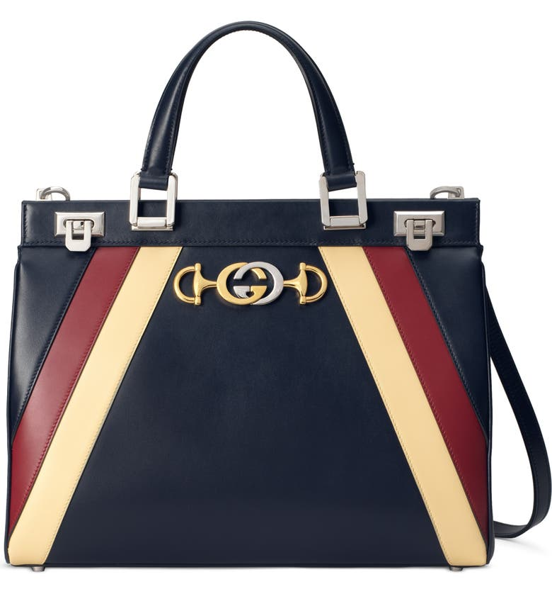GUCCI Medium Zumi Tricolor Leather Top Handle Bag, Main, color, BLUE/ ROMANTIC CERISE/ BUTTER