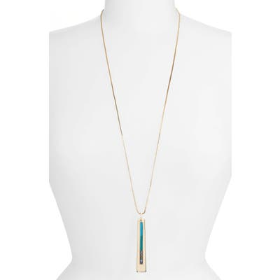 Halogen Inlay Long Pendant Necklace