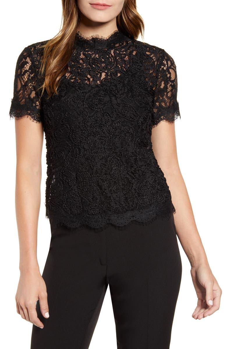 ANNE KLEIN Lace Short Sleeve Blouse, Main, color, 001