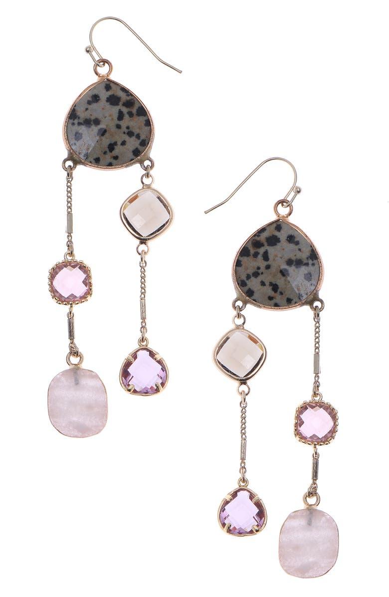NAKAMOL CHICAGO Dalmatian 2-Strand Drop Earrings, Main, color, BROWN MIX