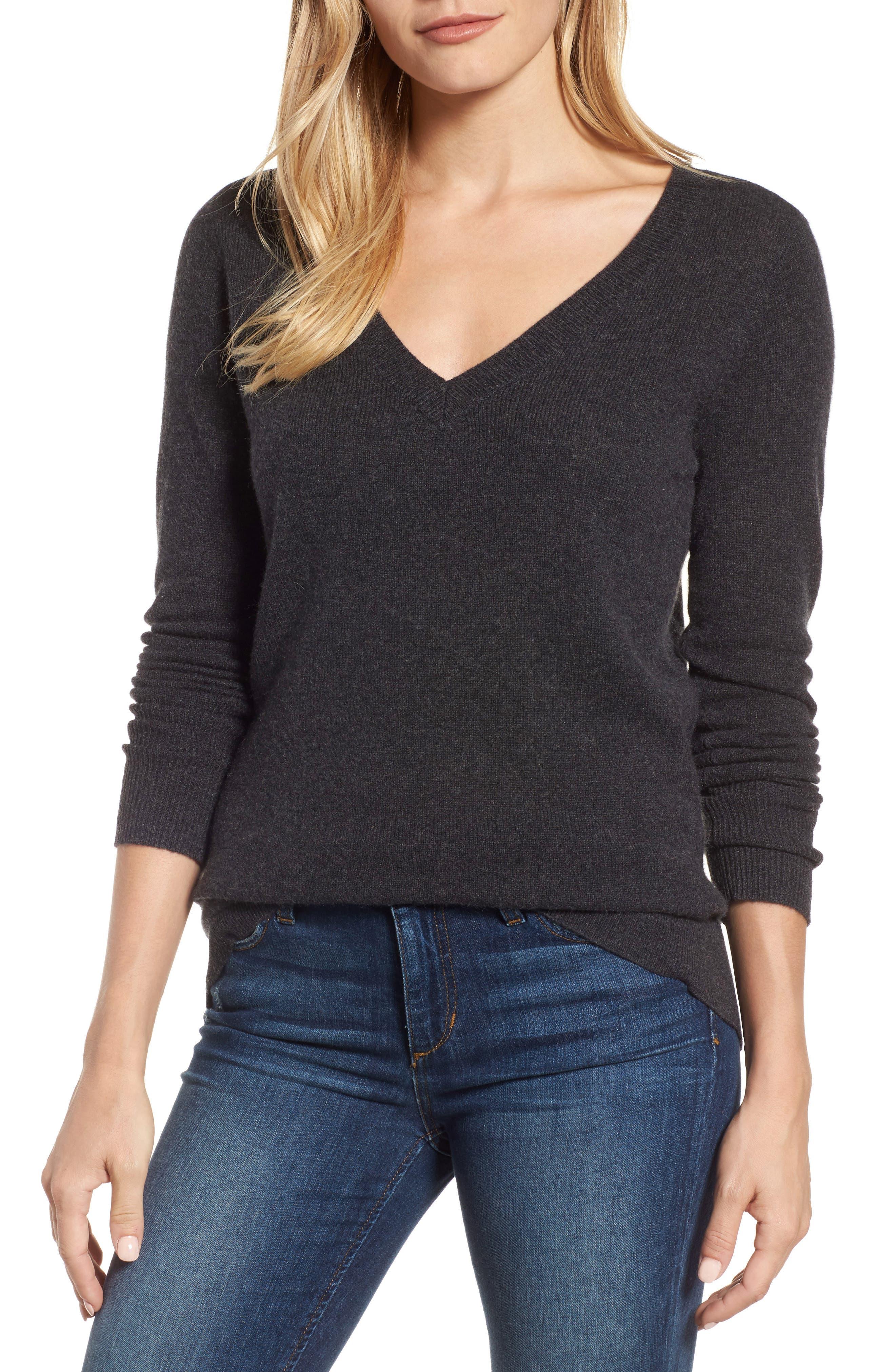 ,                             V-Neck Cashmere Sweater,                             Main thumbnail 81, color,                             021