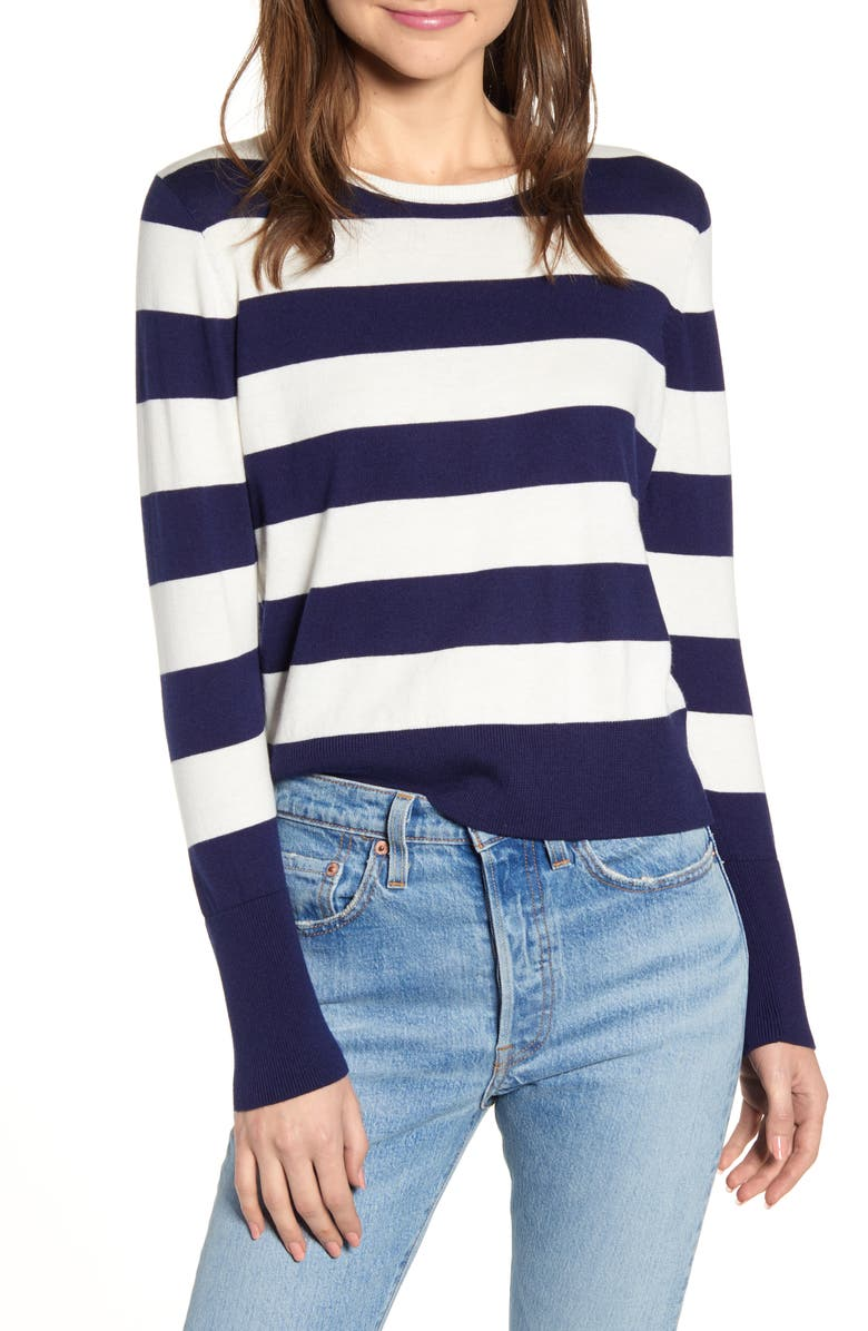 ALEX MILL Stripe Crewneck Sweater, Main, color, NAVY/ IVORY