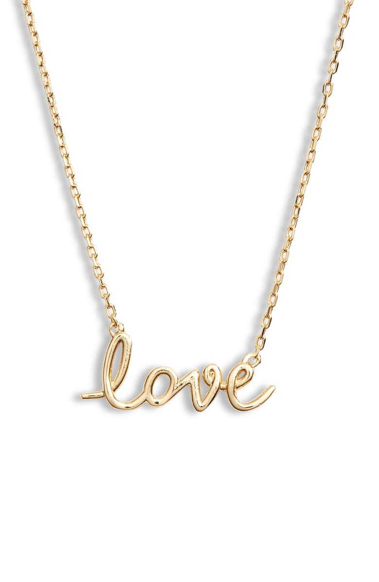 KATE SPADE NEW YORK say yes love script pendant necklace, Main, color, 710