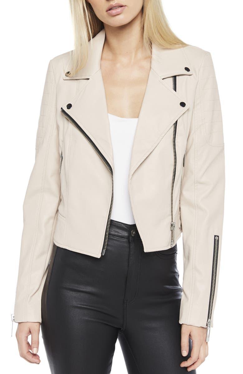 BARDOT Kora Faux Leather Moto Jacket, Main, color, LATTE