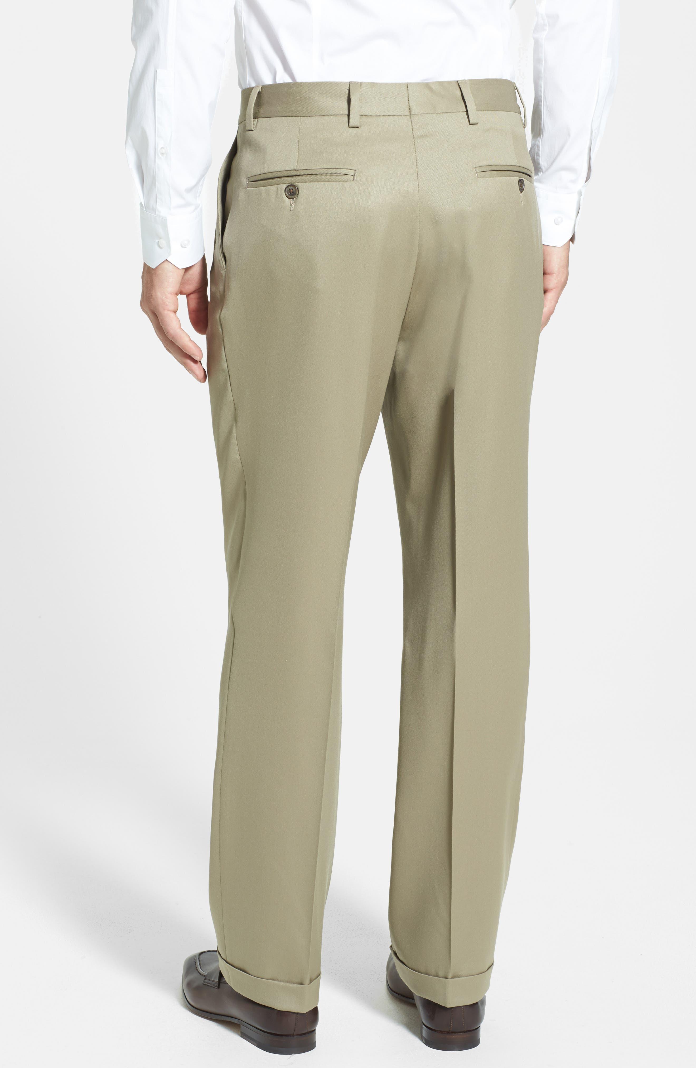 ,                             Pleated Wool Gabardine Trousers,                             Alternate thumbnail 4, color,                             TAN