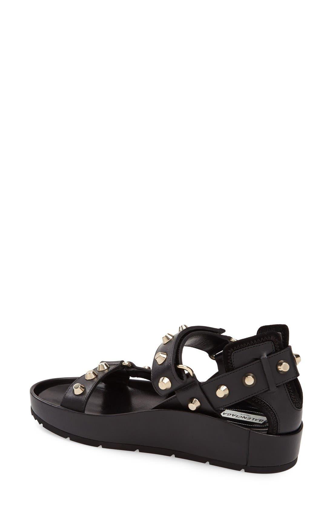 ,                             Studded Leather Sandal,                             Alternate thumbnail 4, color,                             001