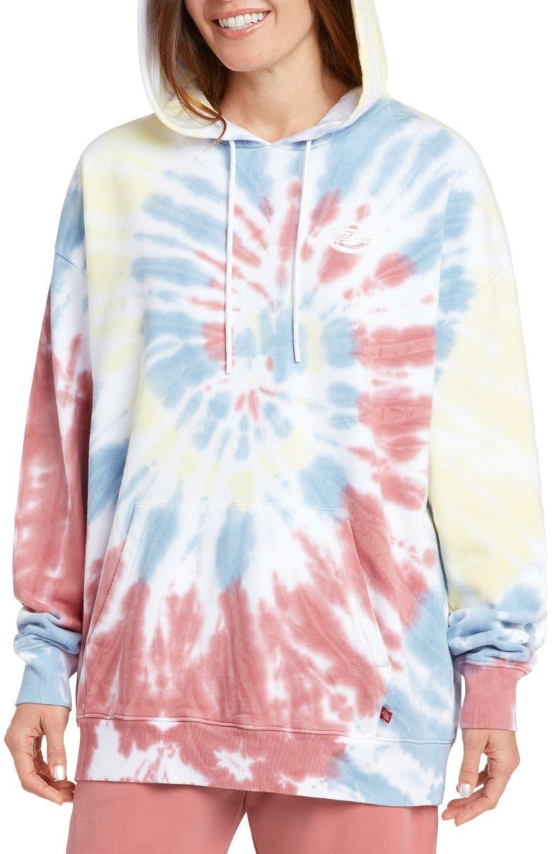 DICKIES Tie Dye Oversize Hoodie, Main, color, APRICOT