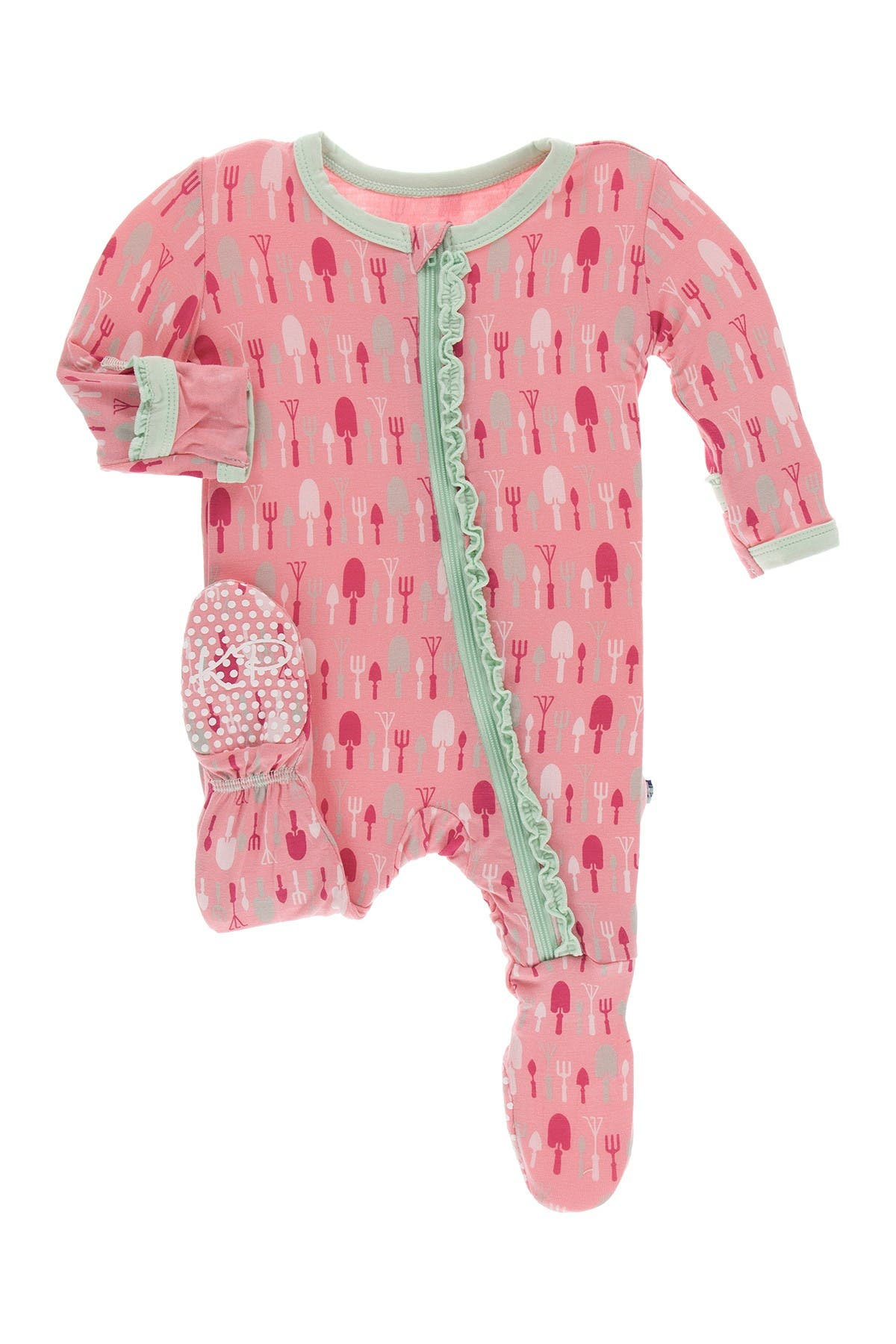Image of KicKee Pants Print Muffin Ruffle Footie with Zipper in Strawberry Garden Tools