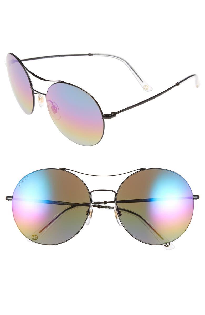 GUCCI 58mm Sunglasses, Main, color, 001