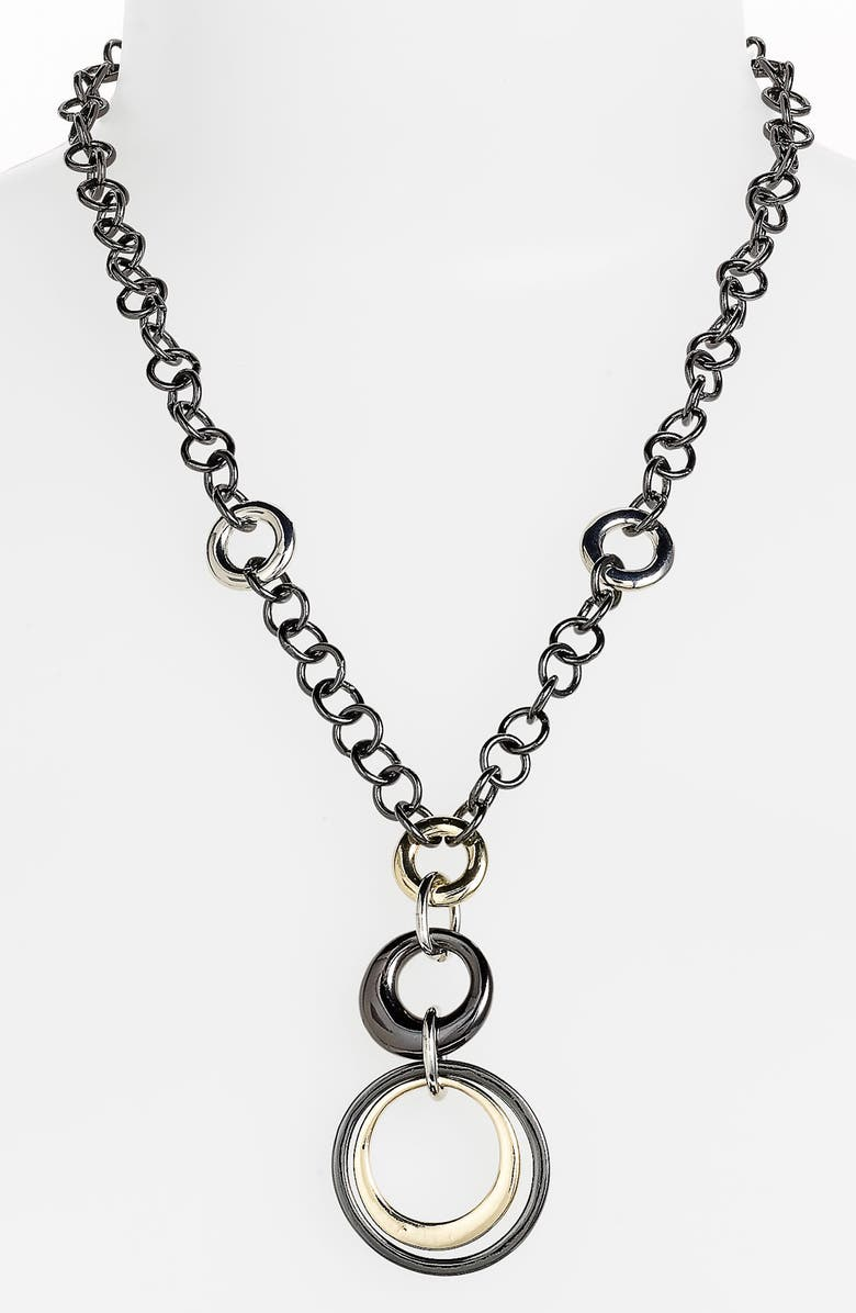 ANNE KLEIN Circle Link Y-Necklace, Main, color, 040