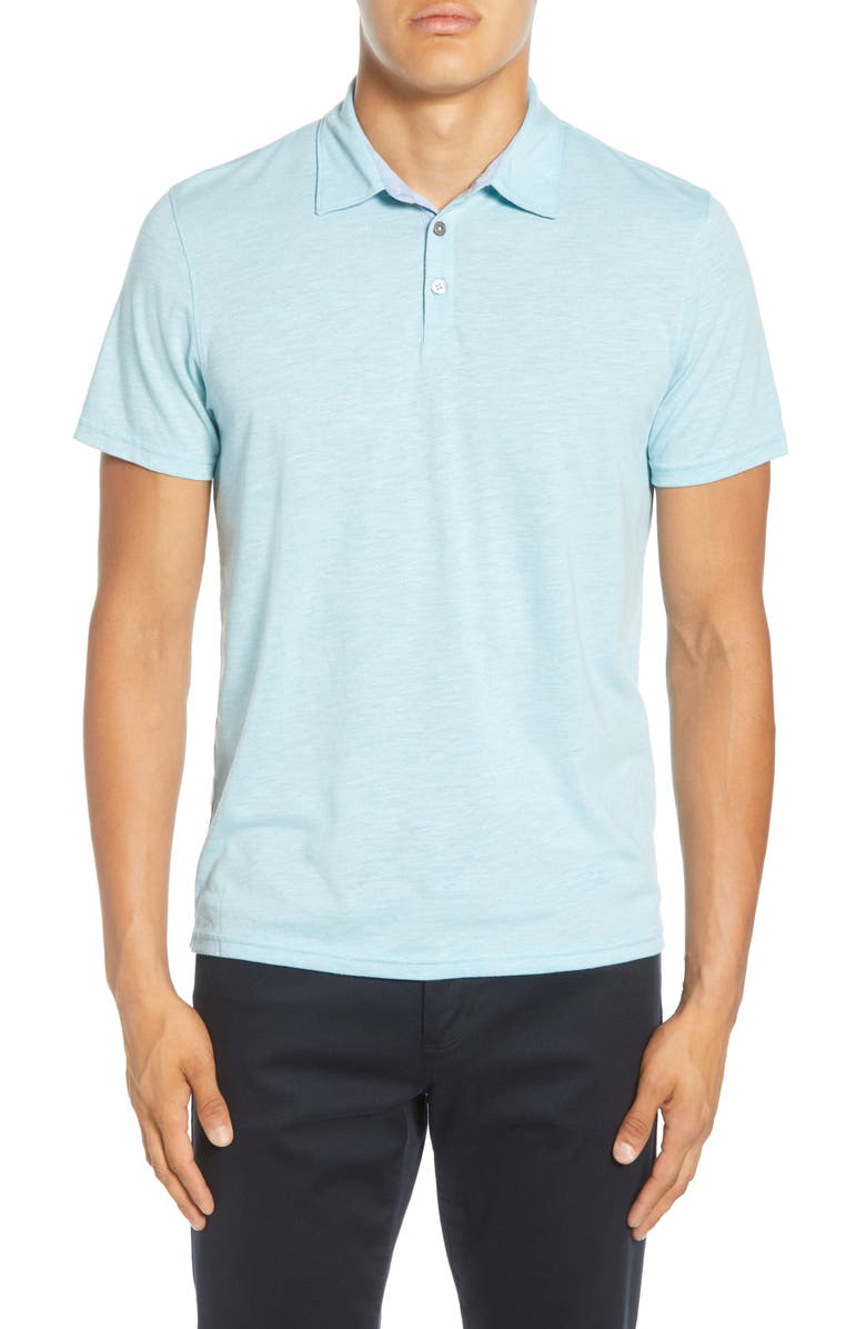 ZACHARY PRELL Liff Regular Fit Slub Polo, Main, color, AQUA