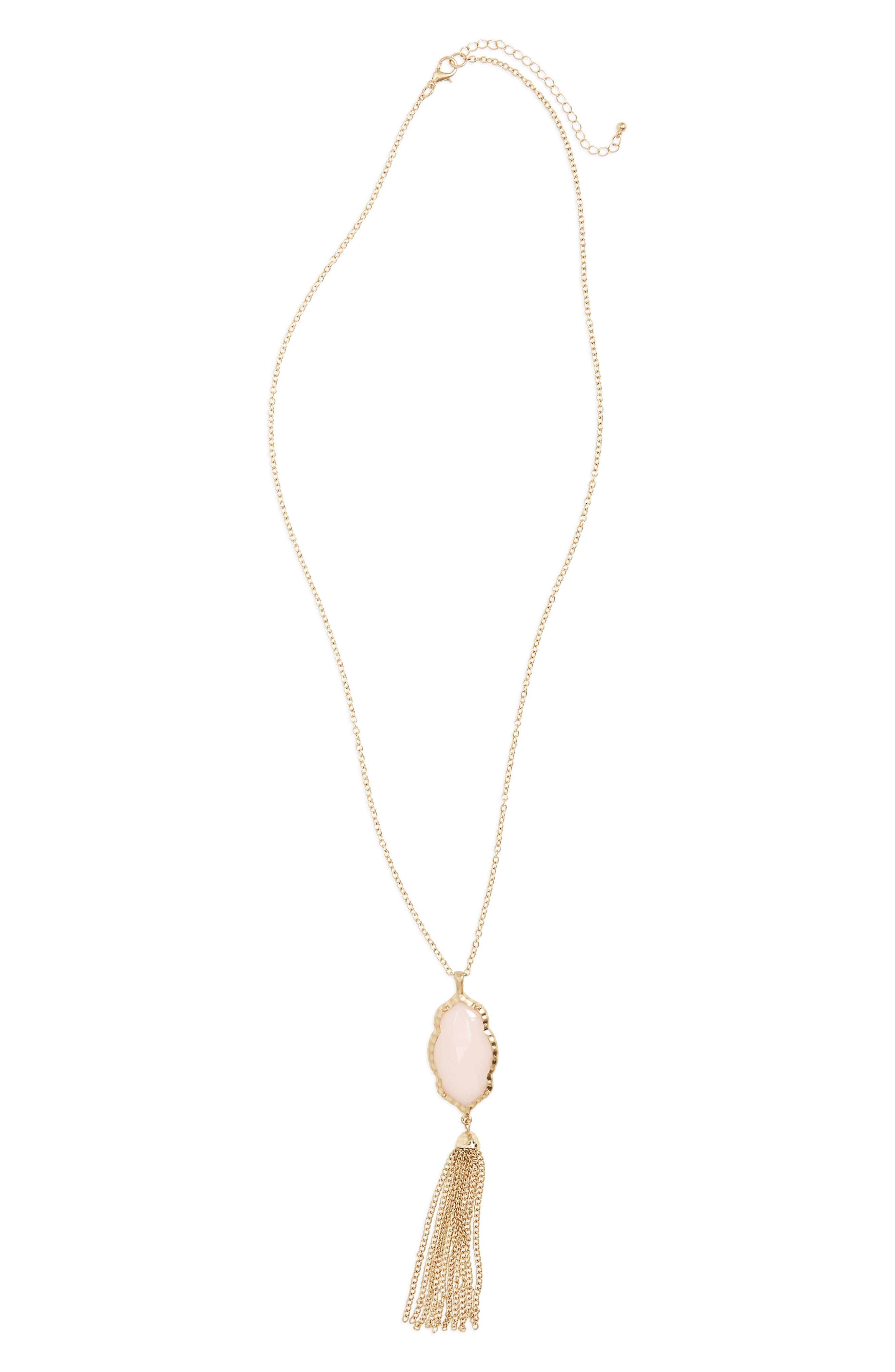Stone Fringe Pendant Necklace, Main, color, 650