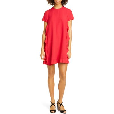 Red Valentino Side Ruffle Shift Minidress