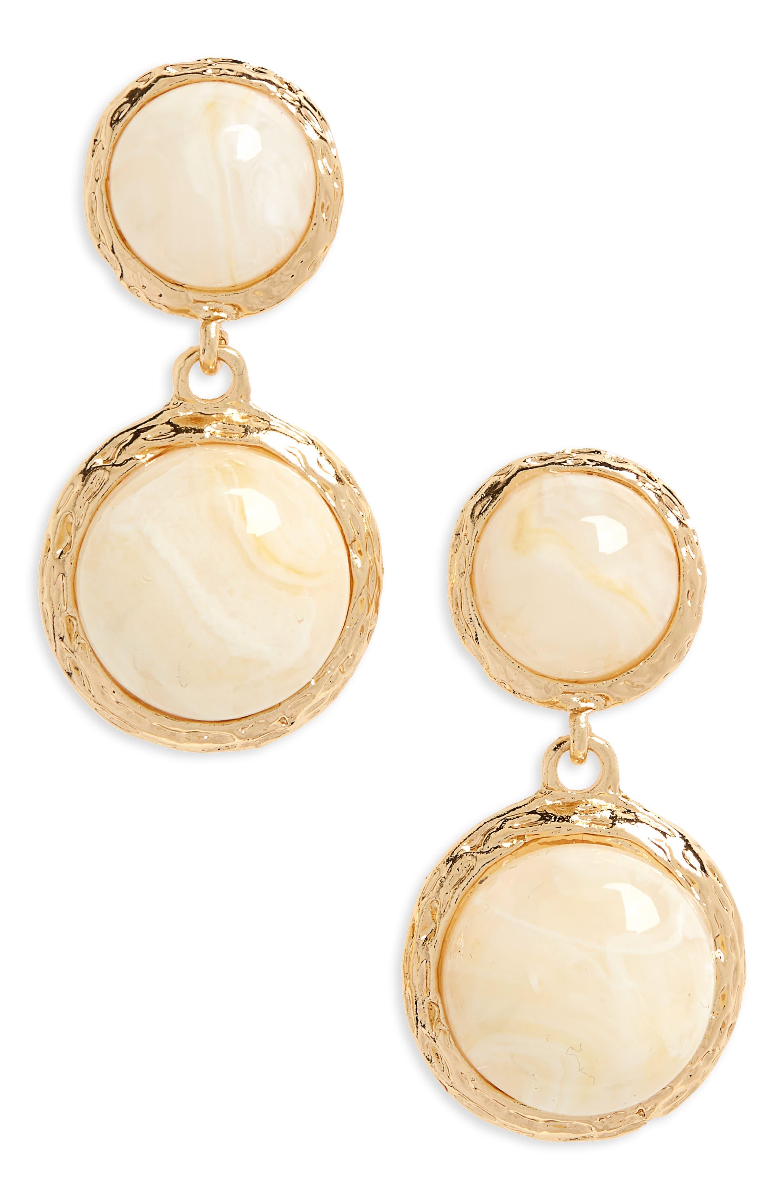 Arabella Drop Earrings, Main, color, GOLD/ CREAM
