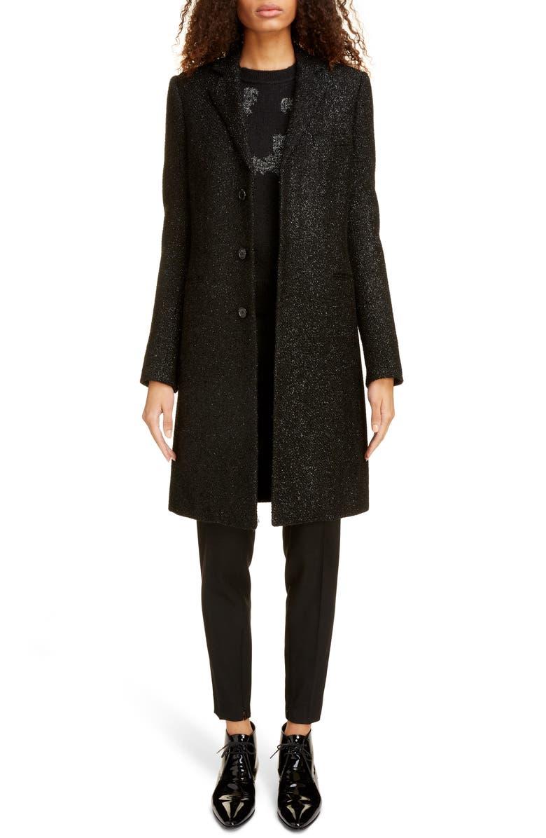 SAINT LAURENT Shimmer Wool Blend Chesterfield Coat, Main, color, NOIR/ BRILLANT