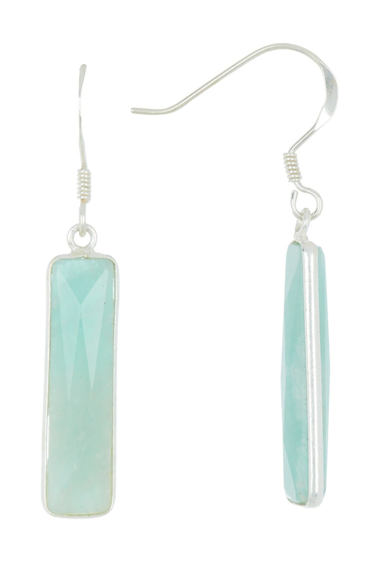 Amazonite and sterling silver French hook earrings