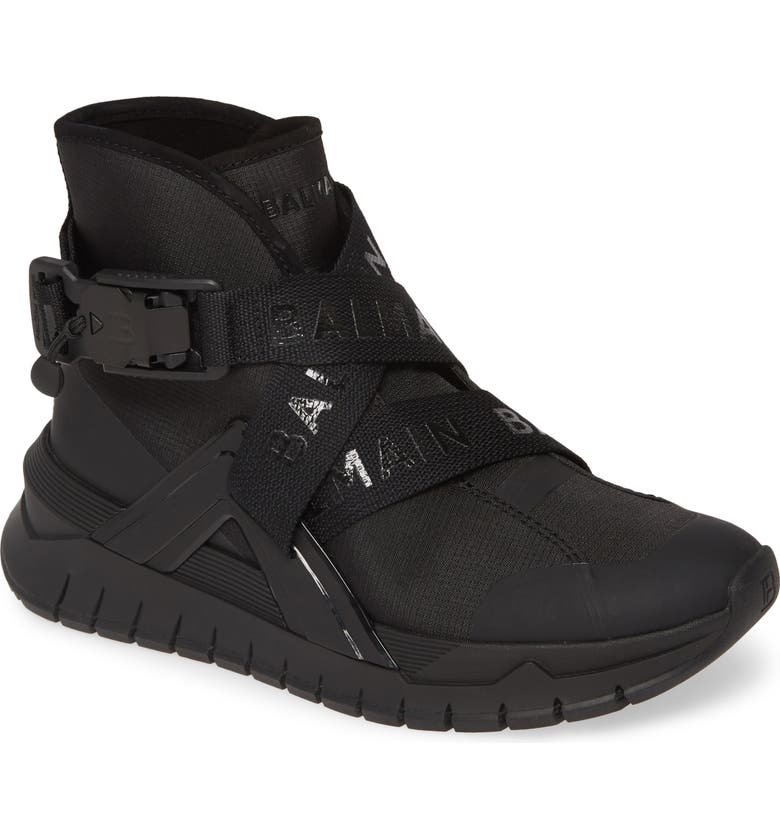 BALMAIN Troop Logo Strap High Top Sneaker, Main, color, BLACK