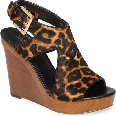 Michael Michael Kors Josephine Genuine Calf Hair Wedge Sandal- Brown