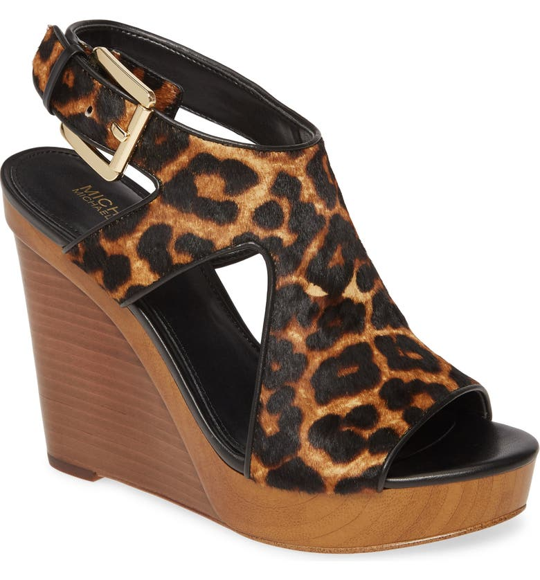MICHAEL MICHAEL KORS Josephine Genuine Calf Hair Wedge Sandal, Main, color, CHEETAH PRINT CALF HAIR