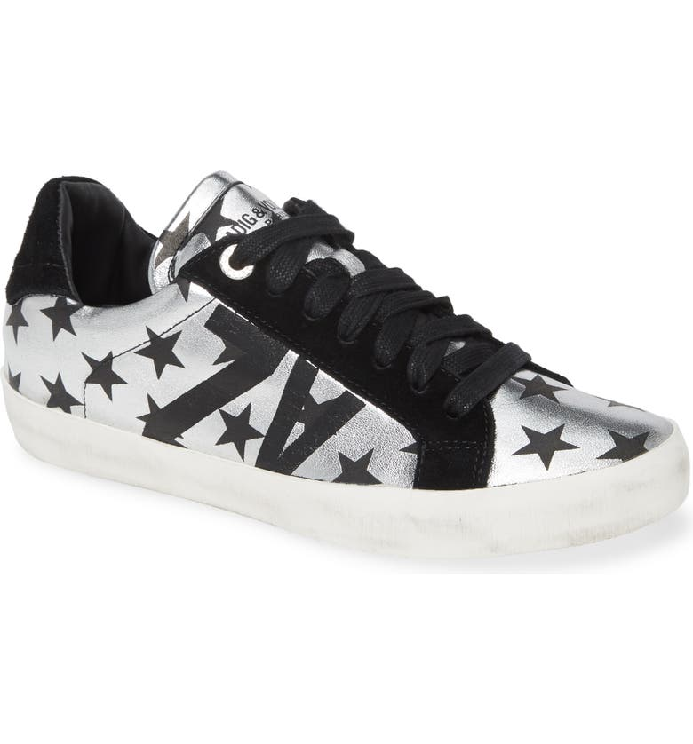 ZADIG & VOLTAIRE Used Lace-Up Sneaker, Main, color, SILVER