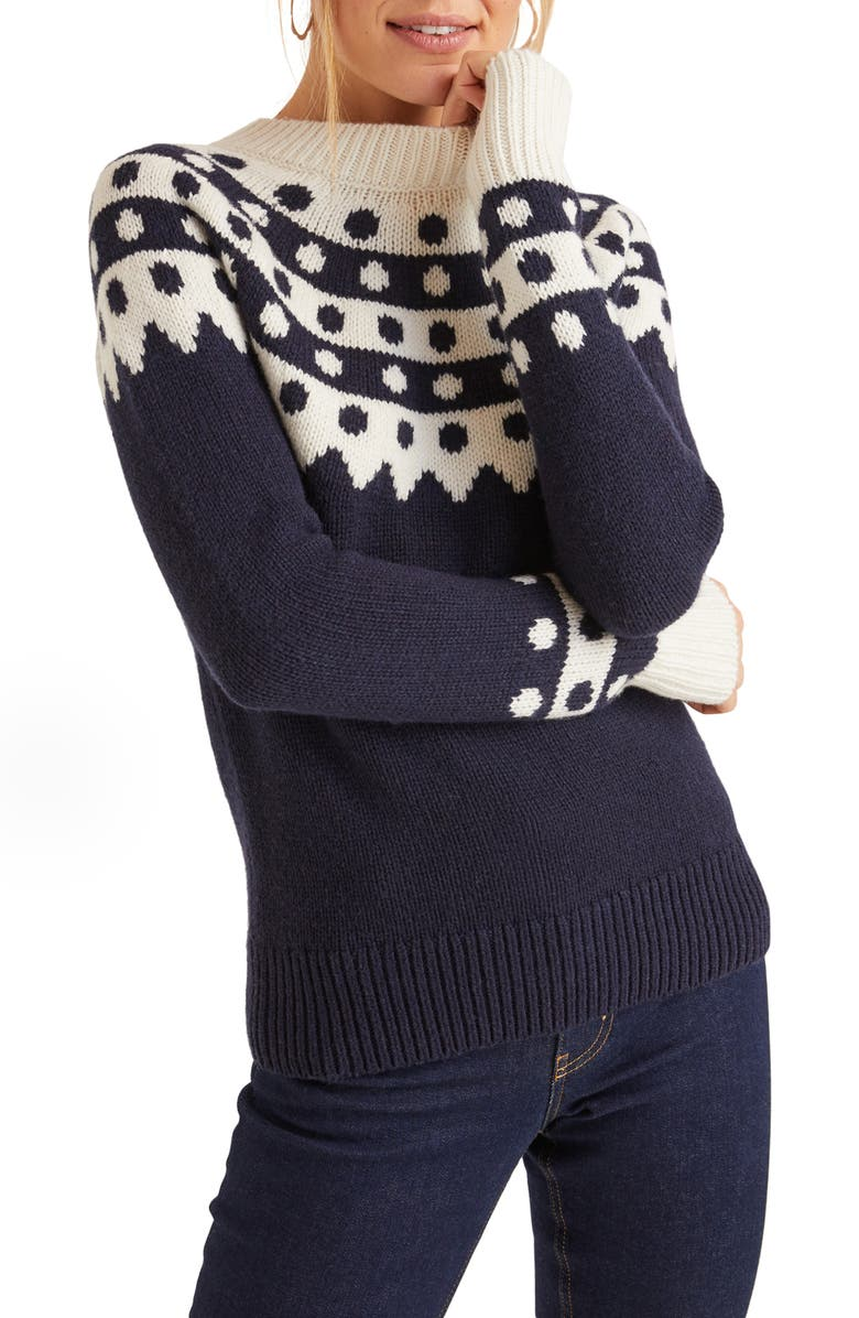 BODEN Rhea Dot Fair Isle Sweater, Main, color, NAVY/ IVORY